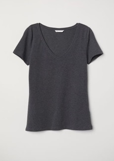 H&M H & M - V-neck Jersey Top - Gray