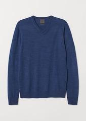 H&M H & M - V-neck Merino Wool Sweater - Blue