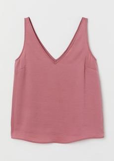 H&M H & M - V-neck Satin Tank Top - Pink