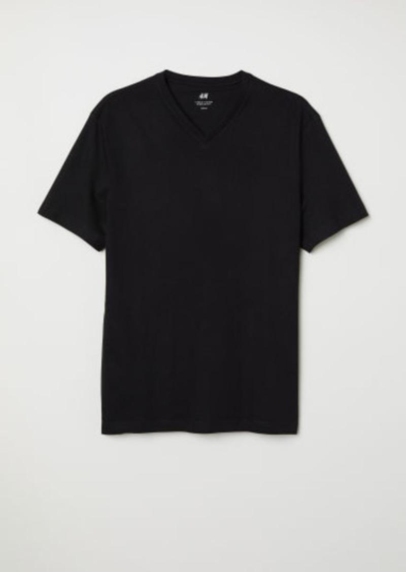 H&M H & M - V-neck T-shirt Regular fit - Black