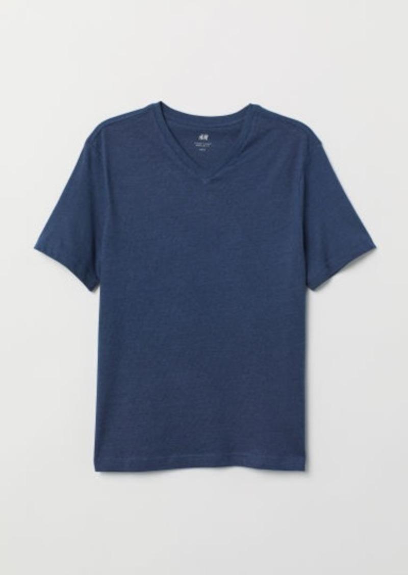 H&M H & M - Regular Fit V-neck T-shirt - Blue