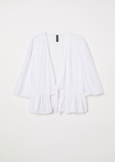 H&M H & M - V-neck Tie Blouse - White