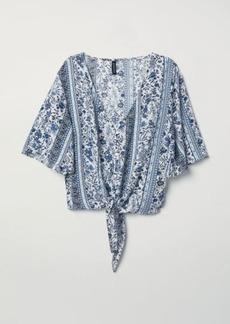 H&M H & M - V-neck Tie-hem Blouse - Blue