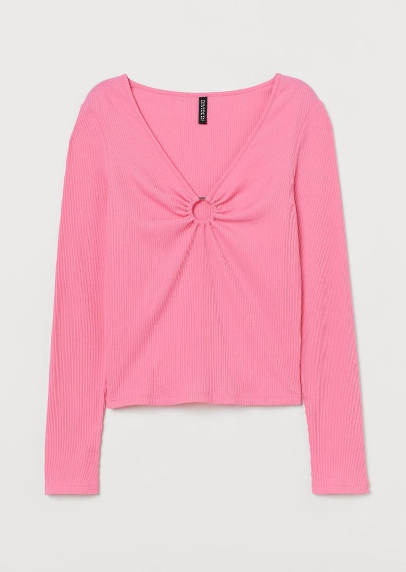 H&M H & M - V-neck Top - Pink