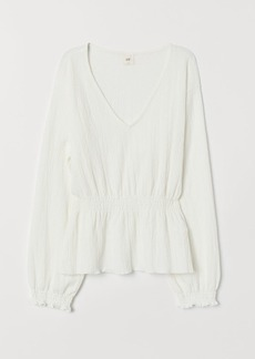 H&M H & M - V-neck Top with Smocking - White