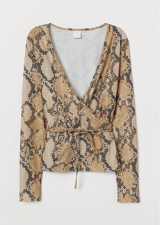 H&M H & M - V-neck Wrapover Top - Beige
