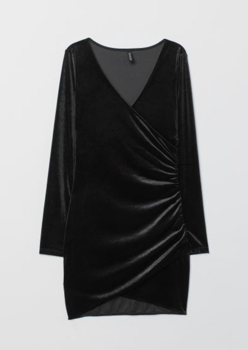 H&M H & M - Velour Dress - Black
