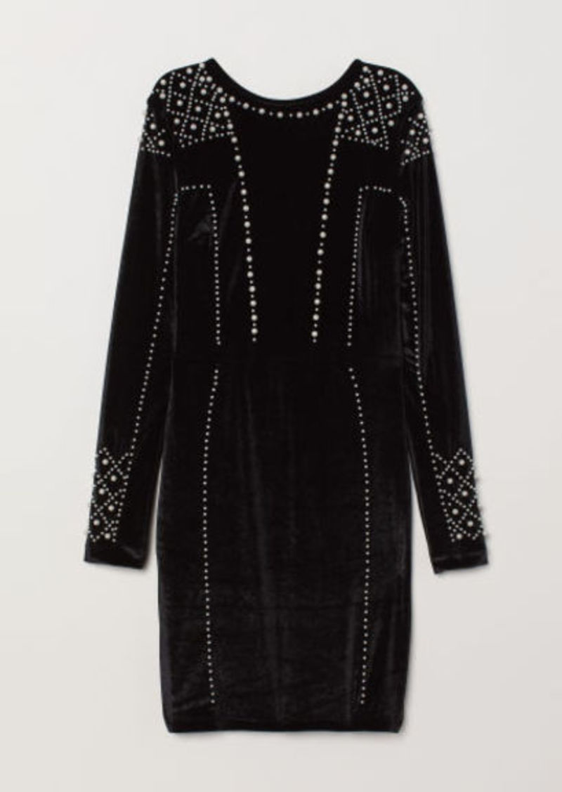 H&M H & M - Velour Dress with Beads - Black