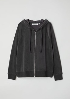 H&M H & M - Velour Hooded Jacket - Gray