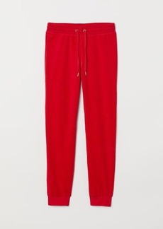 H&M H & M - Velour Joggers - Red
