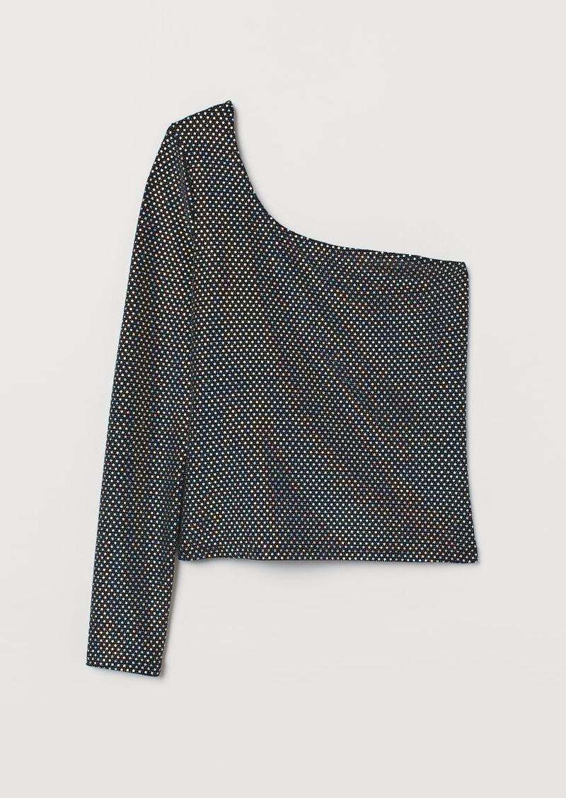 H&M H & M - Velour One-shoulder Top - Black