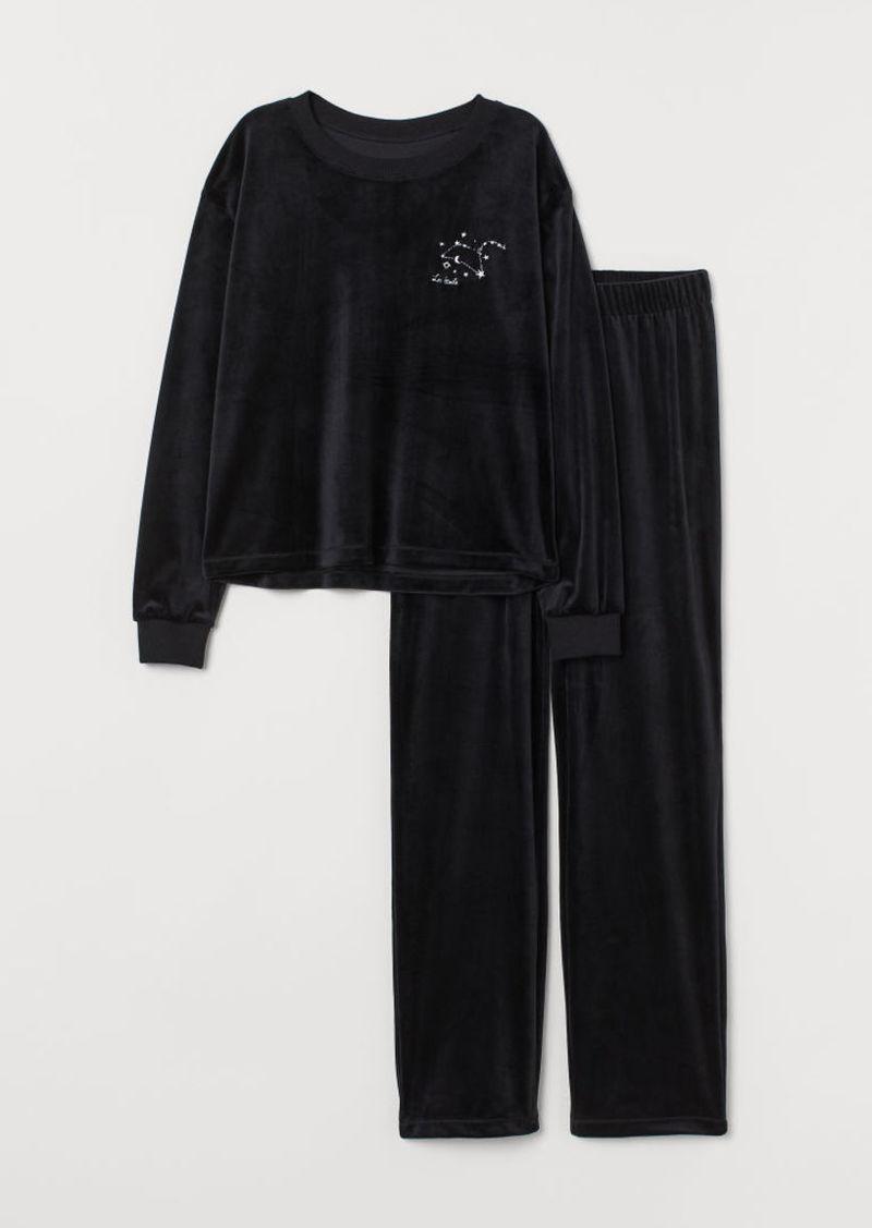H&M H & M - Velour Pajamas - Black
