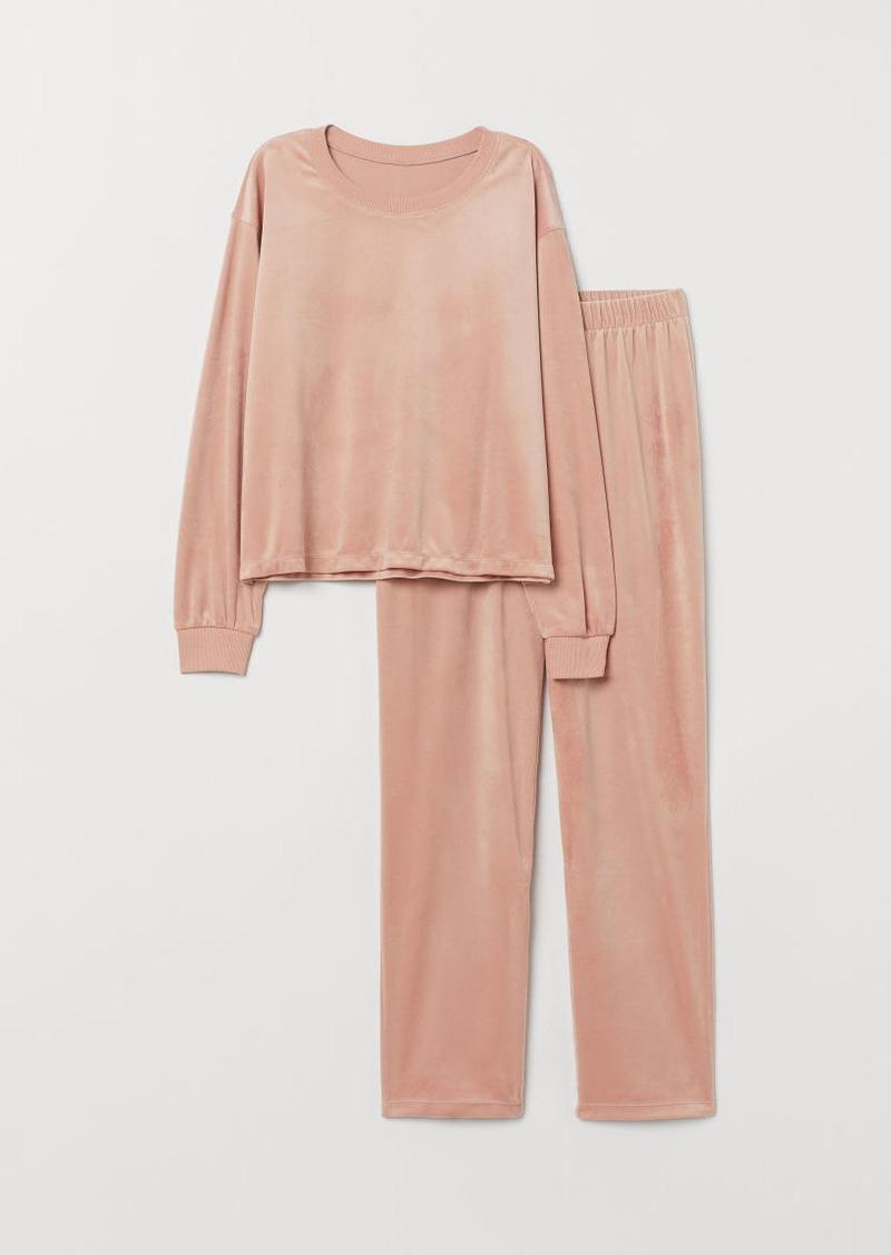 H&M H & M - Velour Pajamas - Pink