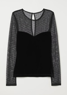H&M H & M - Velour Top - Black