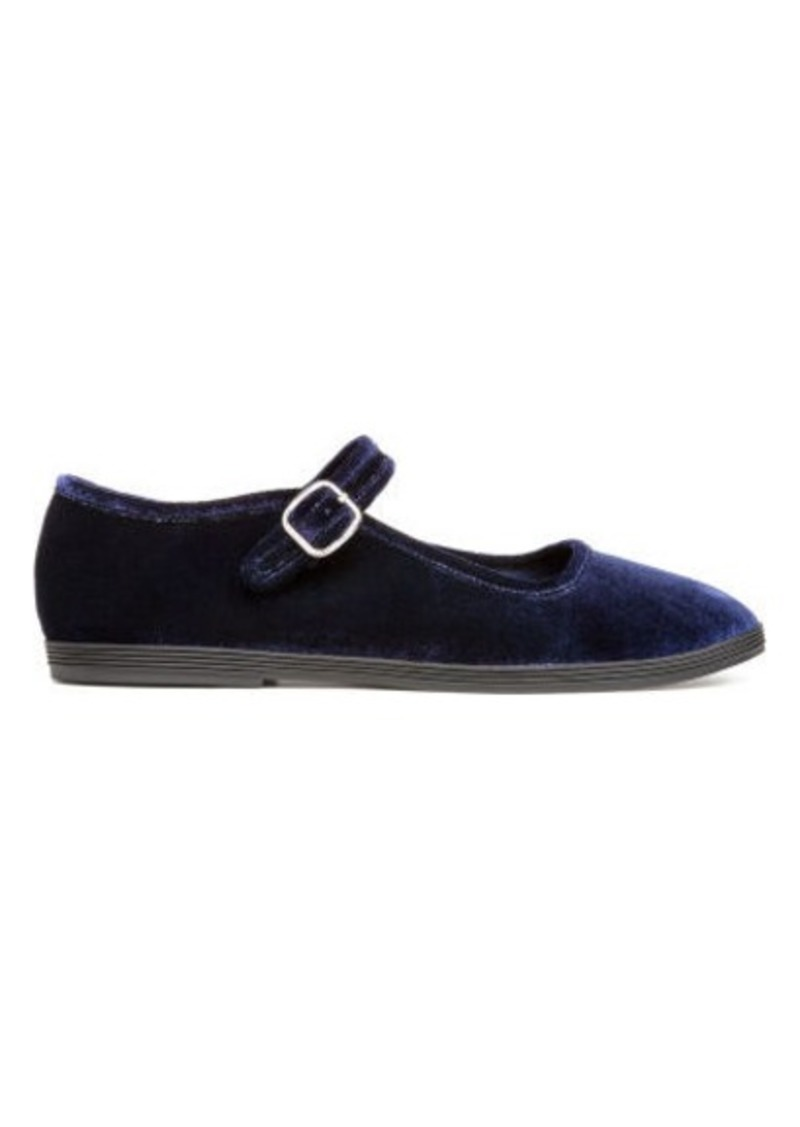 0147740790fa H M H   M - Velvet ballet pumps - Blue