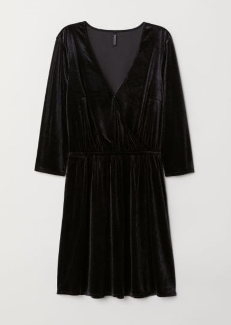 H&M H & M - Velvet Wrap Dress - Black