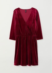 H&M H & M - Velvet Wrap Dress - Red