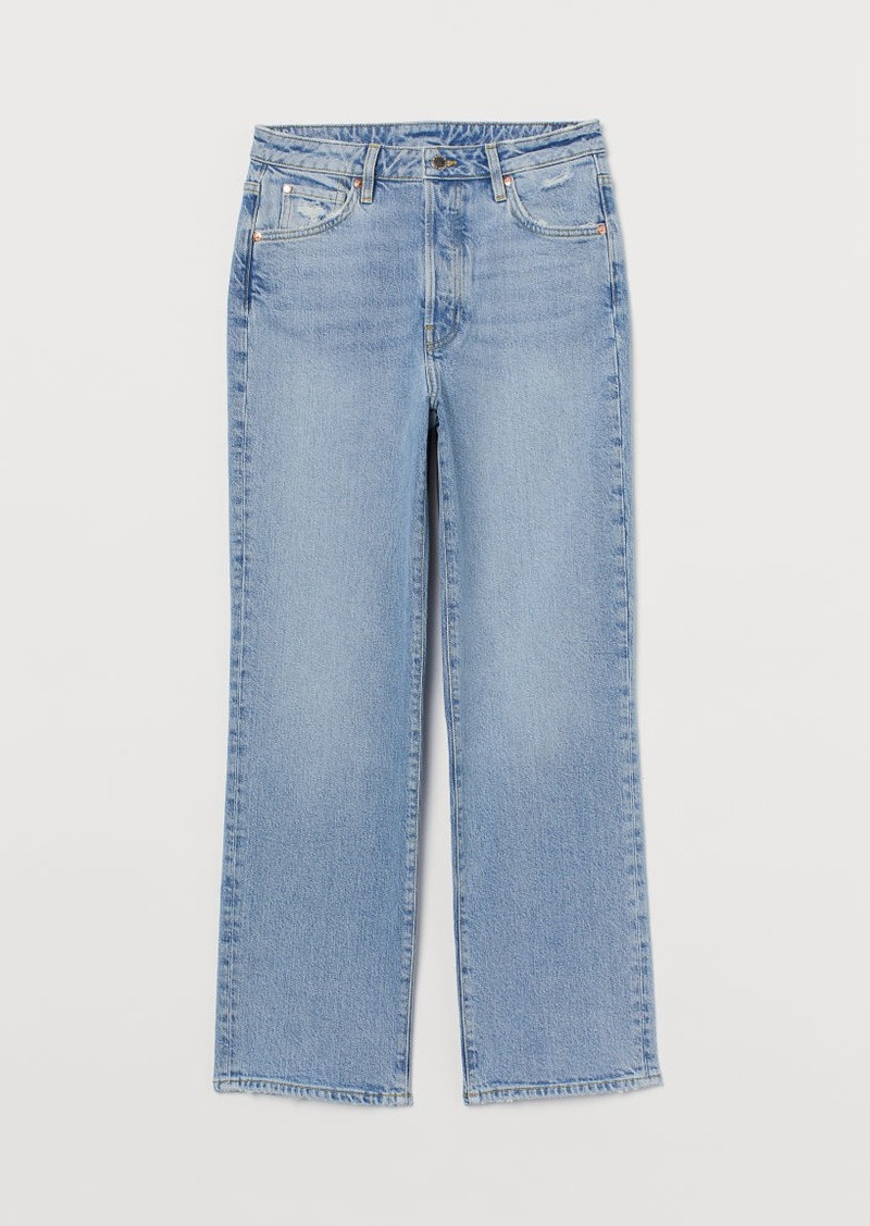 H & M - Vintage Straight High Jeans - Blue