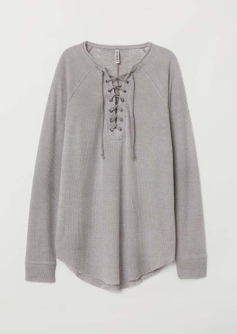 H&M H & M - Waffled Jersey Top - Gray
