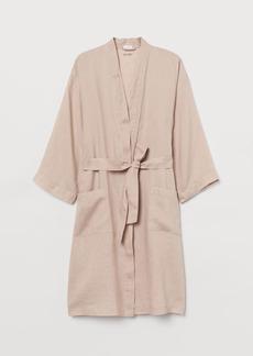H&M H & M - Washed Linen Bathrobe - Beige