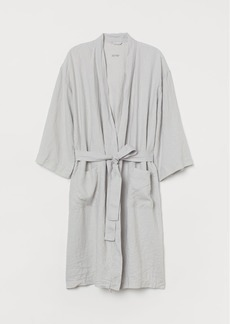 H&M H & M - Washed Linen Bathrobe - Gray