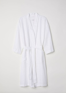 H&M H & M - Washed Linen Bathrobe - White