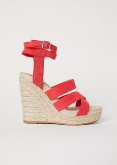 H&M H & M - Wedge-heel Platform Sandals - Red