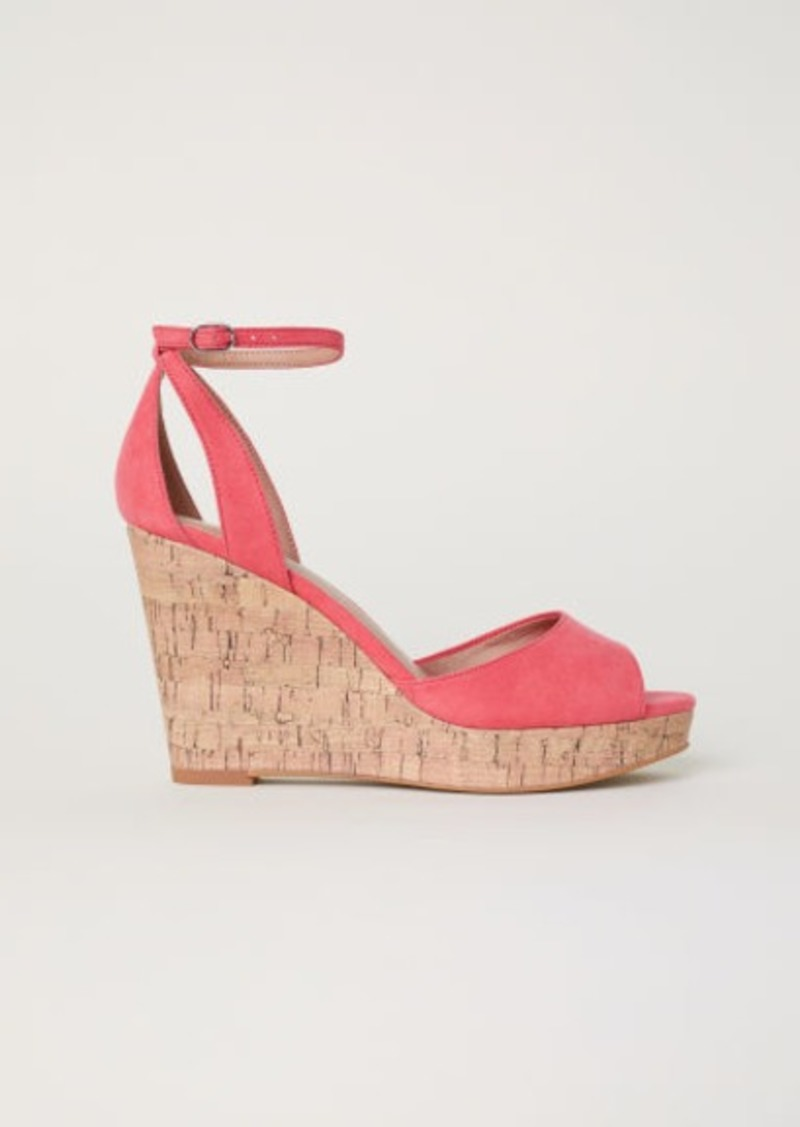H&M H & M - Wedge-heel Platform Sandals - Red