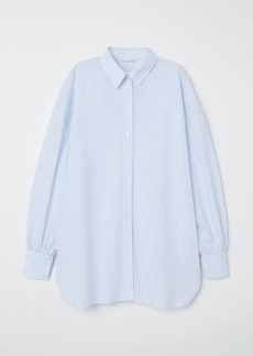 H&M H & M - Wide-cut Cotton Shirt - Blue