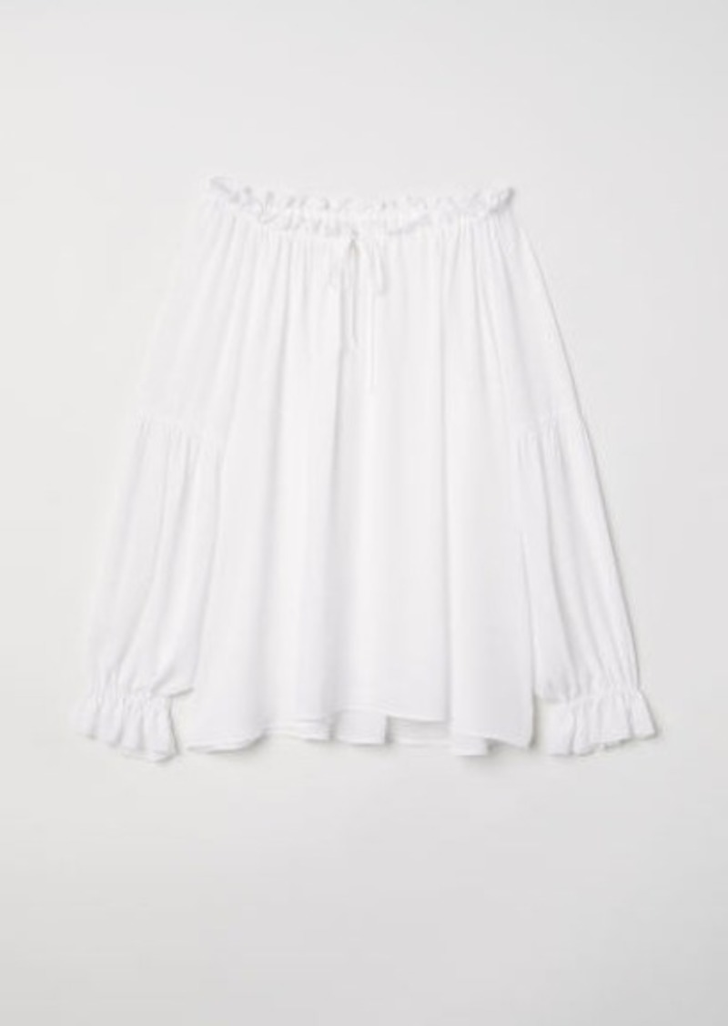 H&M H & M - Wide-cut Blouse with Ties - White