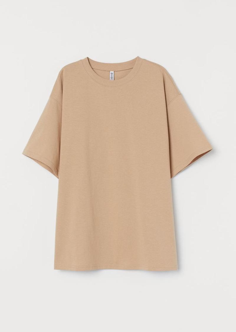 H & M - Wide-cut Cotton T-shirt - Beige