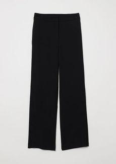 H&M H & M - Wide-cut Pants with Buttons - Black