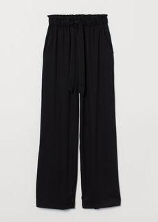 H&M H & M - Wide-cut Paper-bag Pants - Black