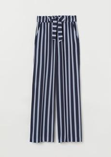 H&M H & M - Wide-cut Paper-bag Pants - Blue