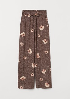 H&M H & M - Wide-cut Paper-bag Pants - Brown