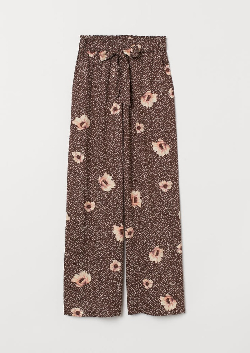 H&M H & M - Wide-cut Paper-bag Pants - Brown
