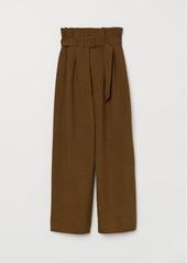H&M H & M - Wide-cut Paper-bag Pants - Green