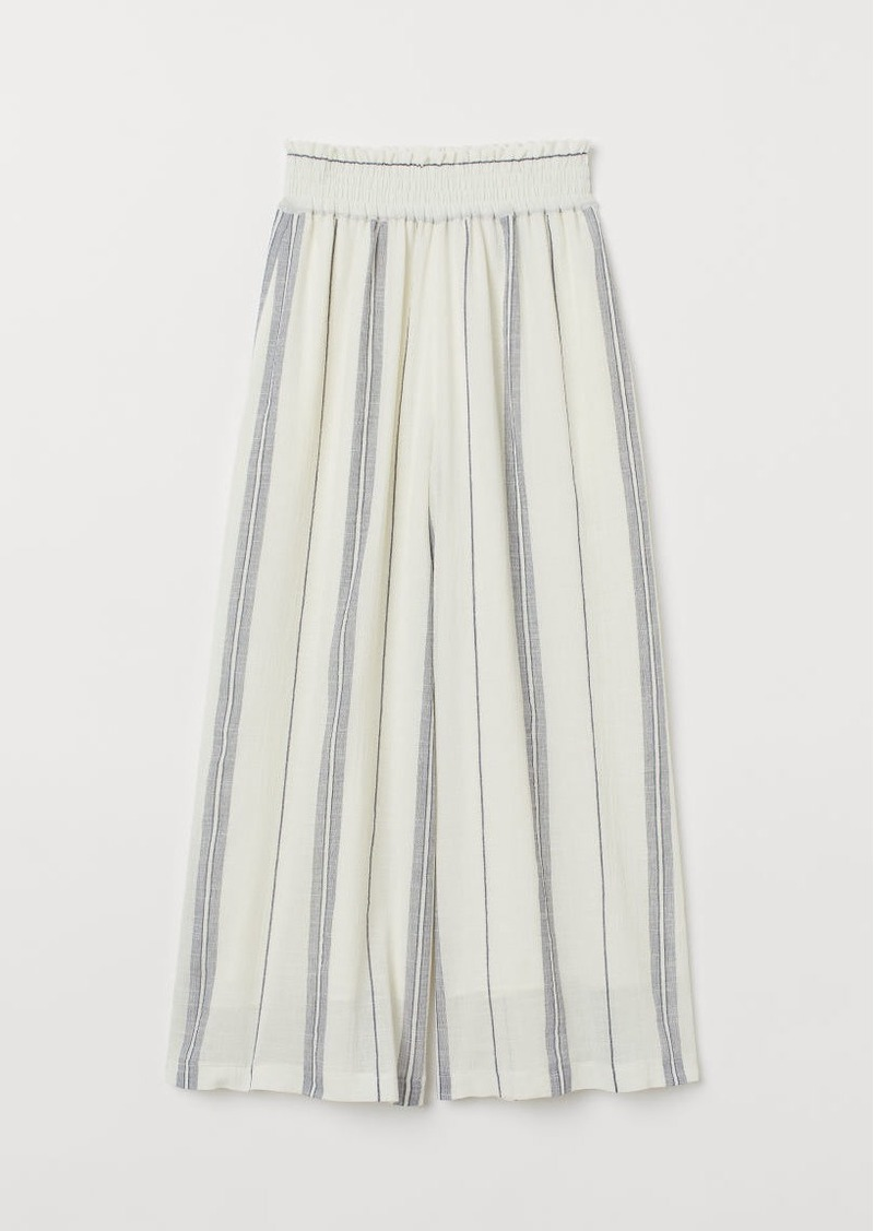 H&M H & M - Wide-cut Pull-on Pants - White