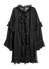 Hm h  m   wide cut ruffle trimmed dress   black abvaf90af4 a