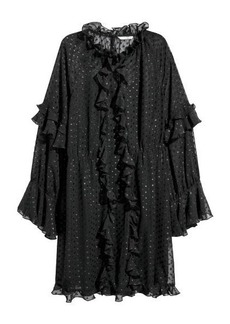 H&M H & M - Wide-cut Ruffle-trimmed Dress - Black