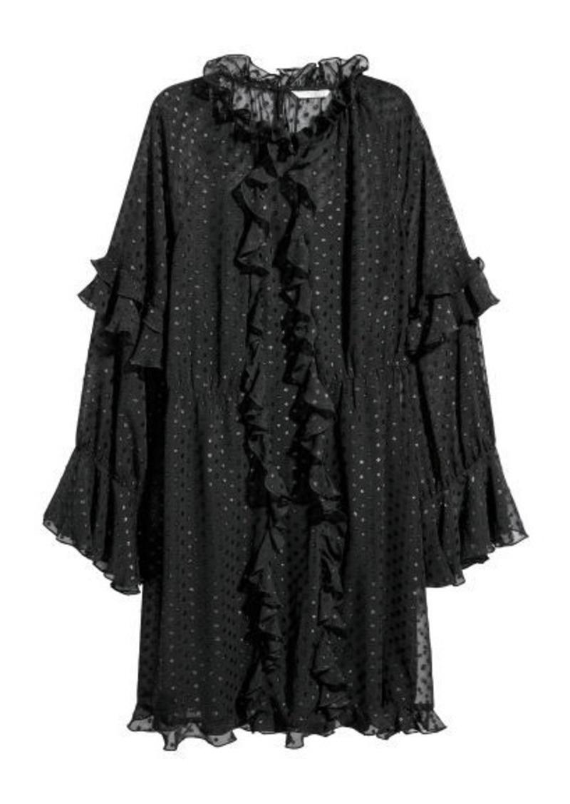 H&M H & M - Wide-cut Ruffle-trimmed Dress - Black