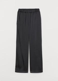 H&M H & M - Wide-cut Satin Pants - Black