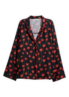 H&M H & M - Wide-cut Satin Shirt - Black