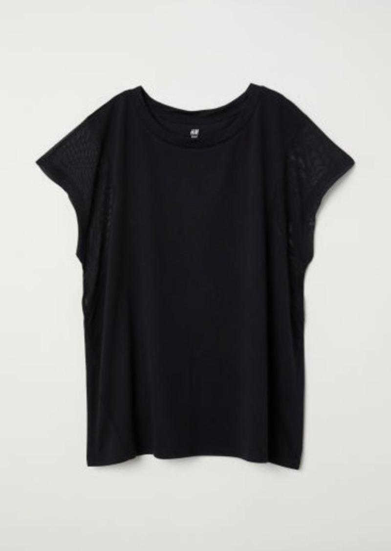 H&M H & M - Wide-cut Sports Top - Black