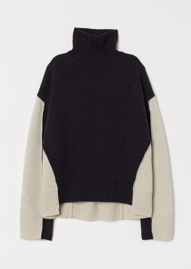 H&M H & M - Wide-cut Wool Sweater - Blue