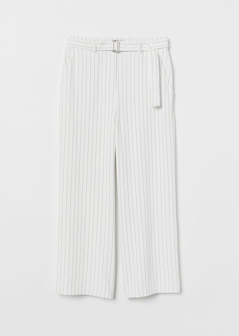 H&M H & M - Wide-leg Pants with Belt - White