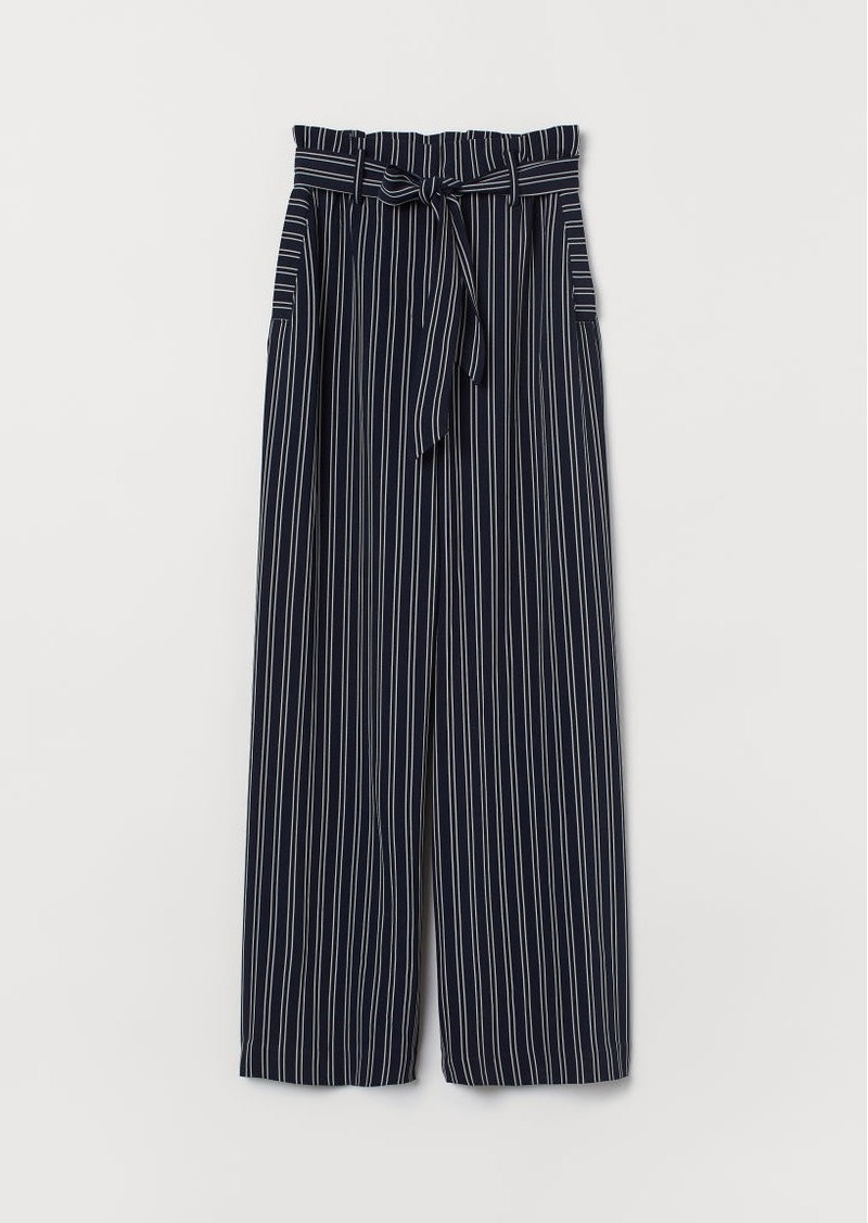 H&M H & M - Wide-leg Pants with Tie Belt - Black