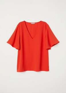 H&M H & M - Wide-sleeved Blouse - Red