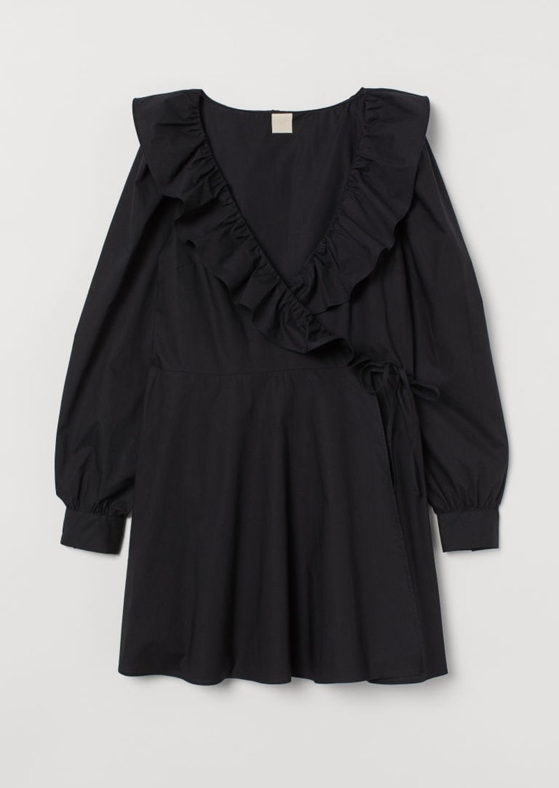 H&M H & M - Wrap Dress with Ruffles - Black