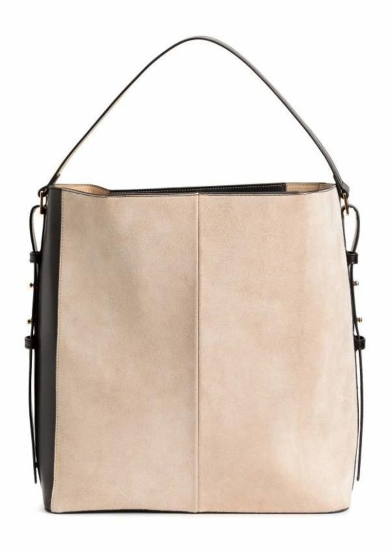 H M Handbag With Suede Details Black Beige Women